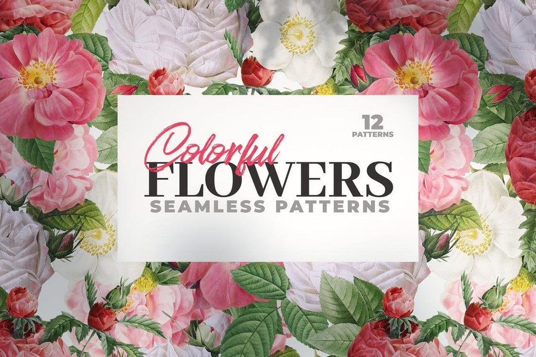 12-Colorful-Seamless-Flower-Patterns 50+ Best Free Photoshop Patterns 2021 design tips