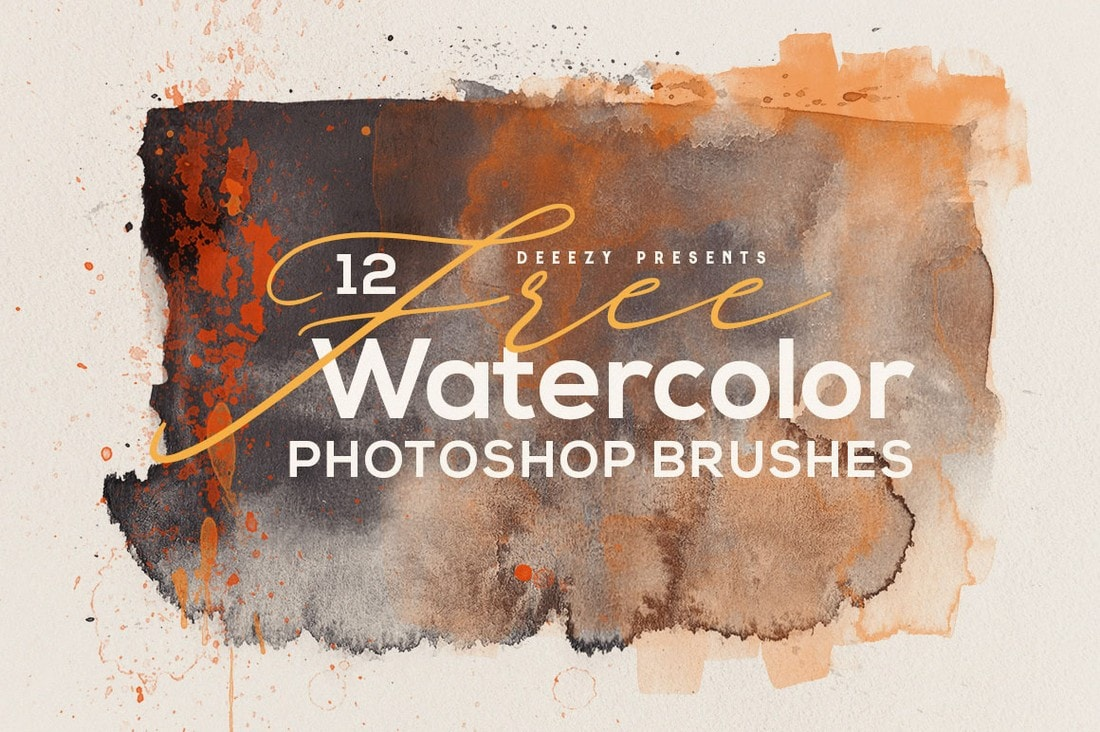 12 Free Abstract Watercolor Brushes for Photoshop