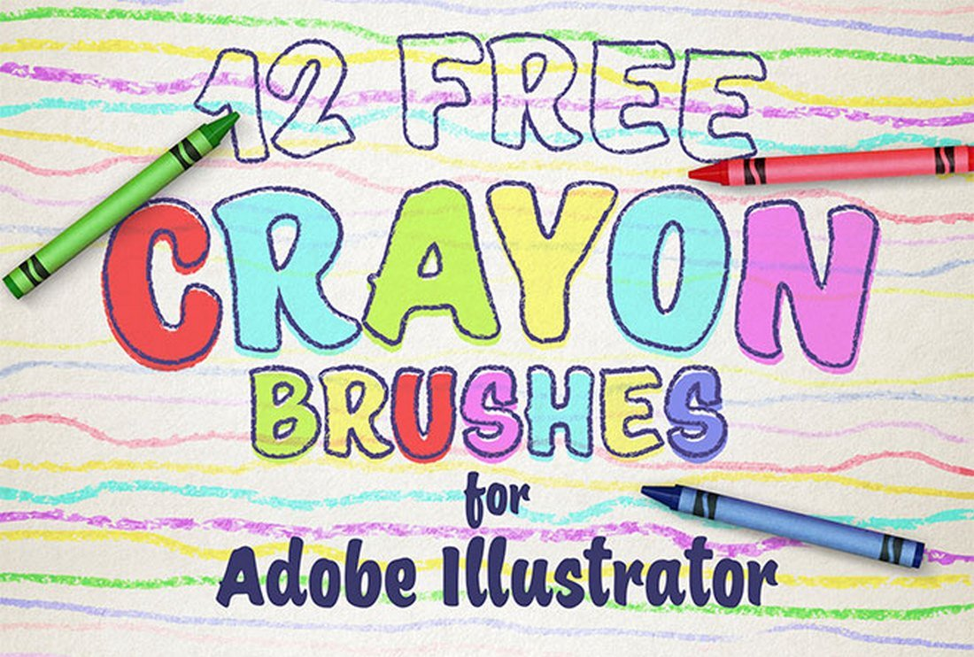 12 Free Wax Crayon Effect Brushes for Illustrator