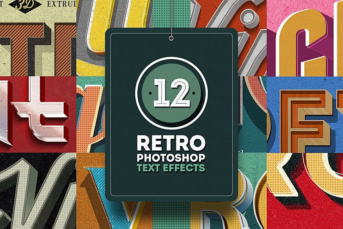 12-Retro-Photoshop-Text-Effects 30+ Best Retro Text Effects & Styles design tips