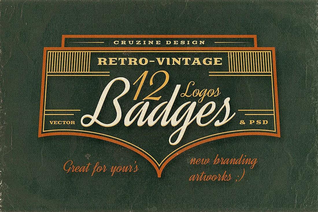 12 Retro & Vintage Badge Templates