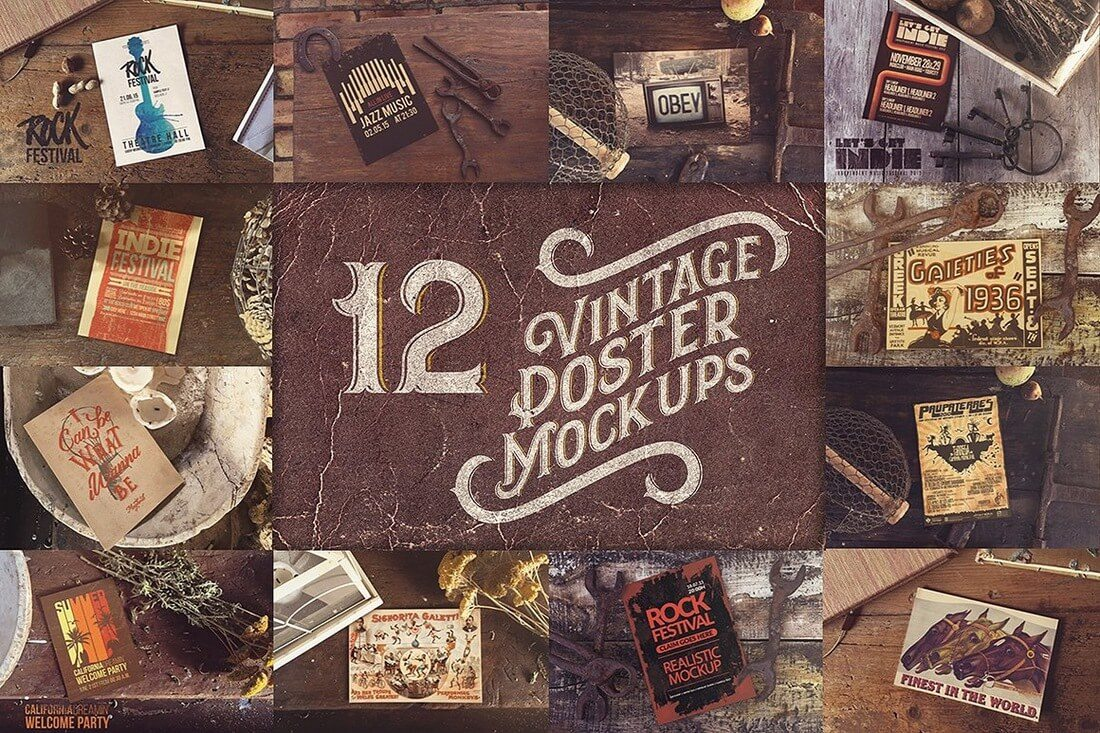 12-Vintage-Poster-Mockups 40+ Stunning Vintage Mockup Packs & Graphics design tips