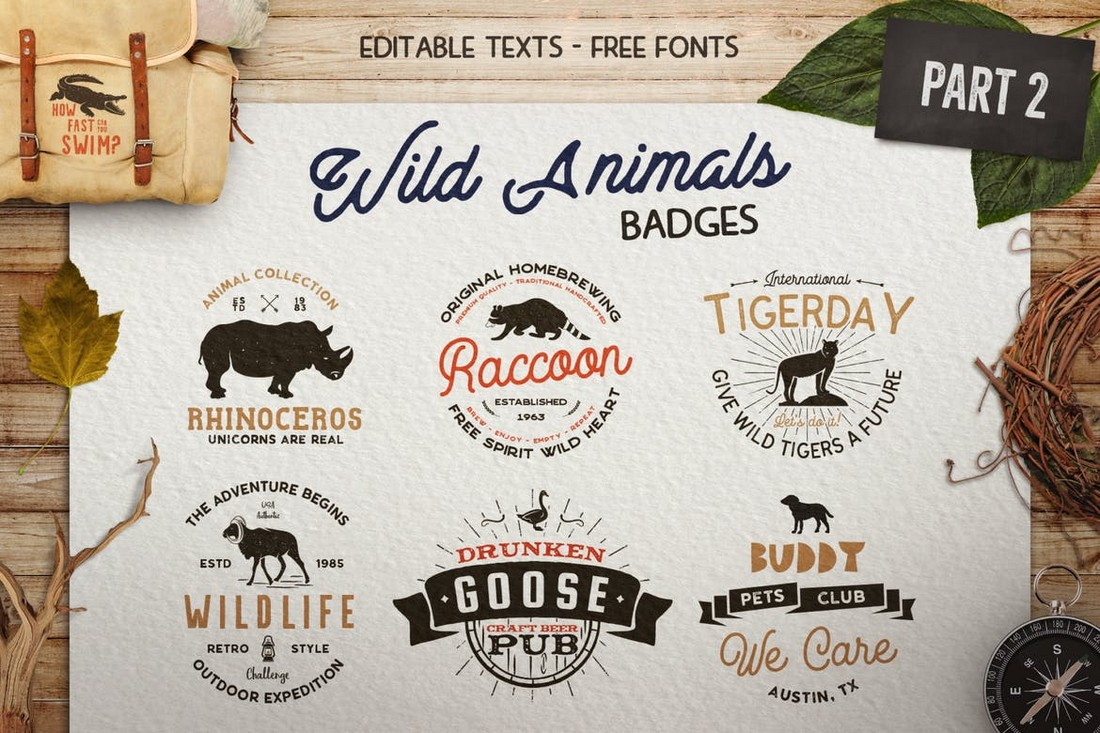 12 Vintage Wild Animals Logo Templates