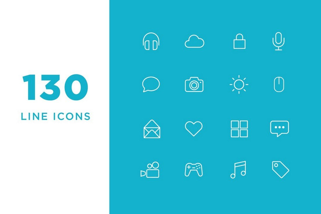 130 Vector Line Icons & Icon Font