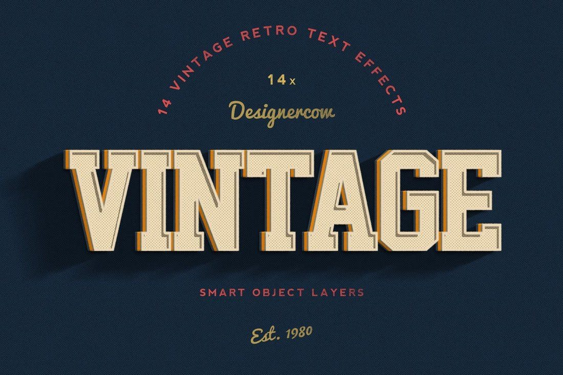 14-Vintage-Retro-Text-Effects 30+ Best Retro Text Effects & Styles design tips
