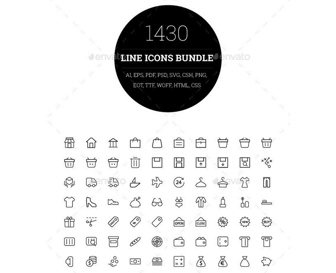 1430 Line Icons Bundle + Font