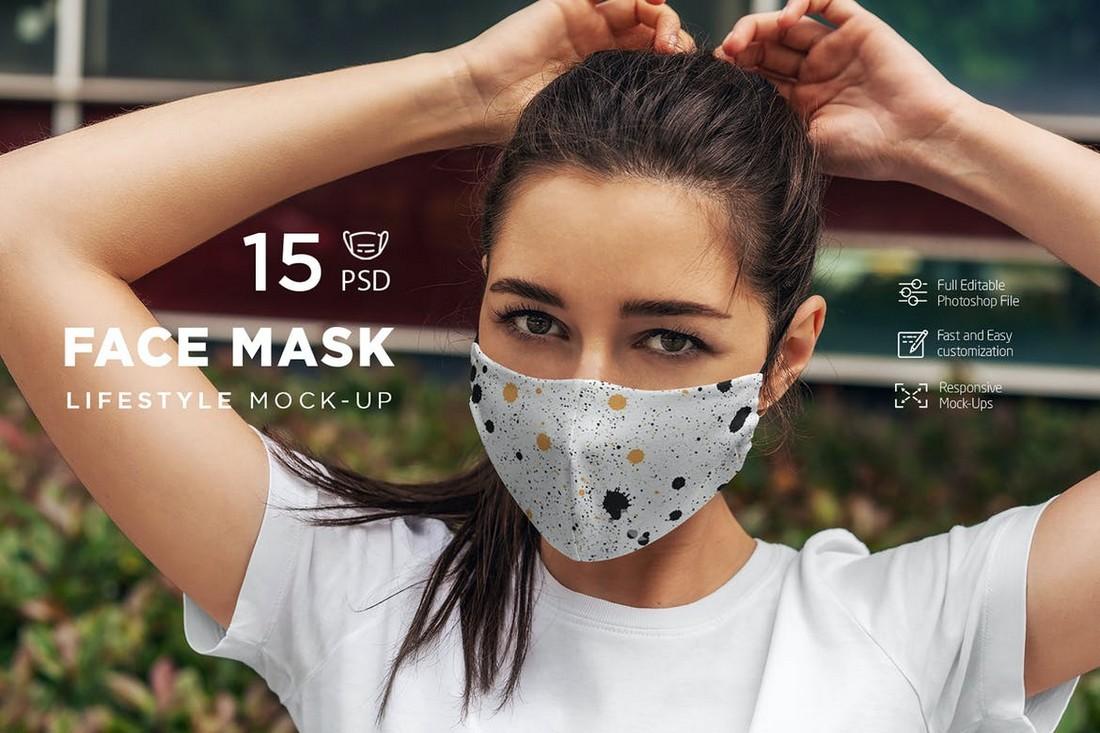 15 Lifestyle Face Mask Mockups