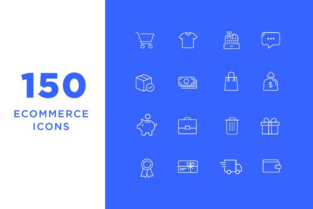 150 Ecommerce Icons with Icon Font