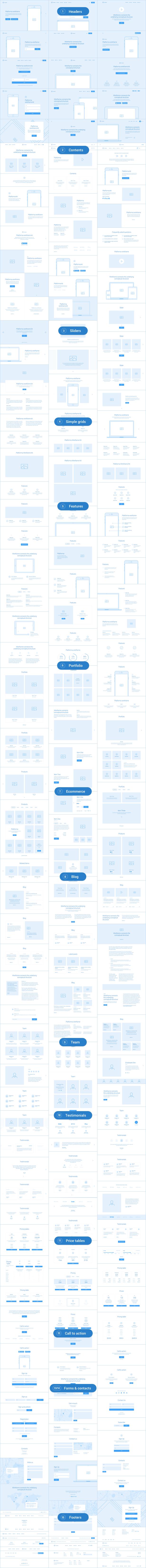 16 &quot;width =&quot; 816 &quot;height =&quot; 8747 &quot;/&gt;</span></div> <p>Platforma est une collection de plus de 200 mises en page filaires réparties en 15 catégories de contenu populaires et soigneusement assemblées pour l&#39;application Sketch. C'est un instrument idéal pour créer un prototype interactif à l'aide de nombreux outils en ligne populaires tels que Invision, Marvel, UXPin, etc.</p> <ul> <li><strong>Prix: </strong>68 $</li> </ul> <h2>Kit d&#39;interface utilisateur OneBrand pour Sketch</h2> <div class=