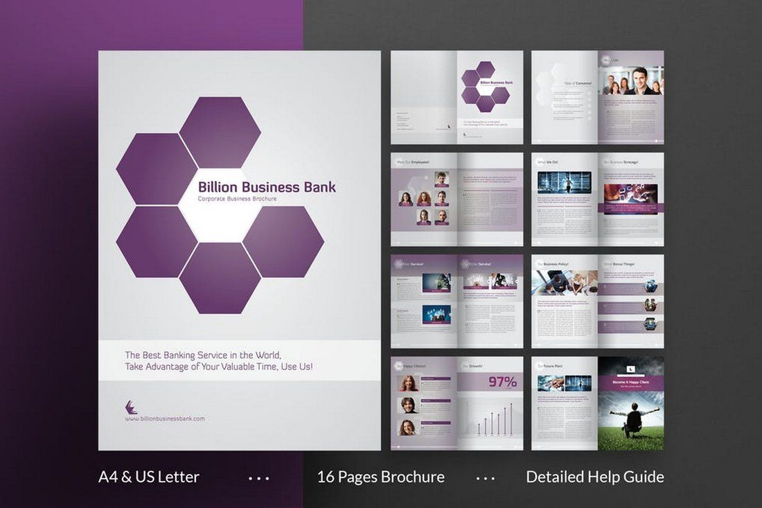 70 modern corporate brochure templates design shack 16 page business brochure template wajeb Gallery