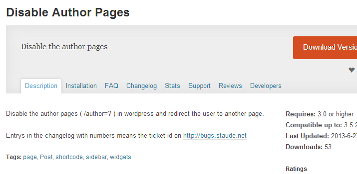 disable author archives pages wordpress plugin