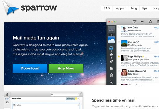 Simplified e-mail with Sparrow App