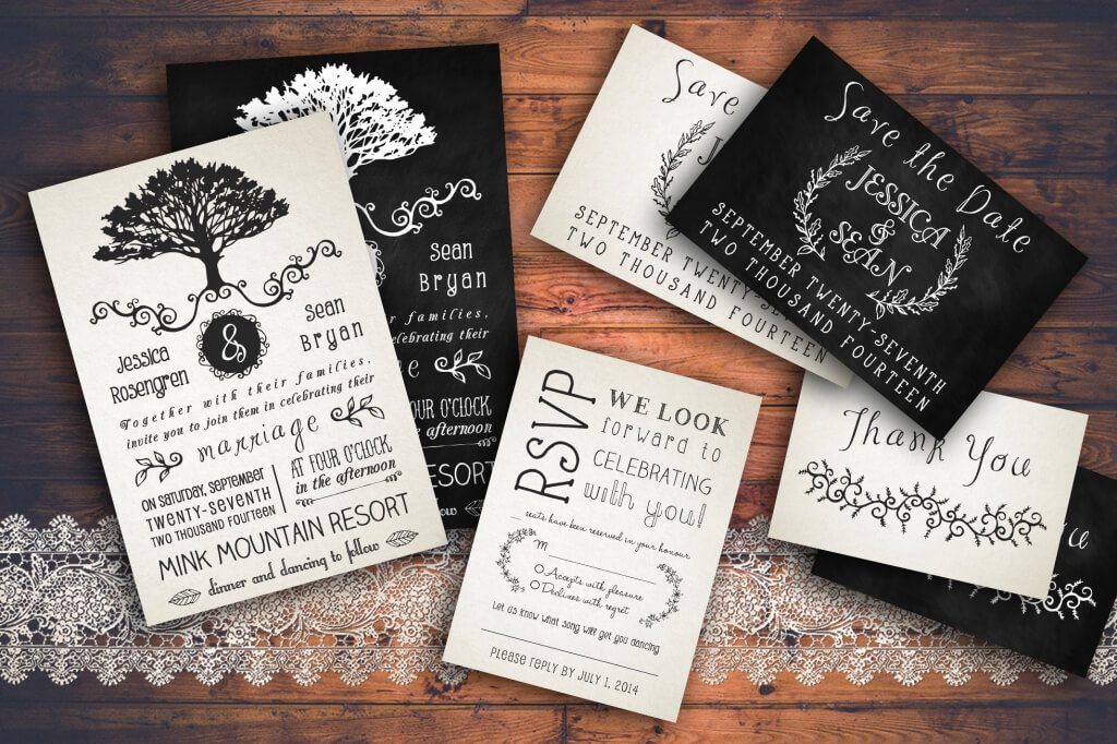 90 gorgeous wedding invitation templates design shack this rustic wedding invitation pack includes a wedding invitation rsvp save the date and thank you notes all text and colors are editable stopboris Image collections