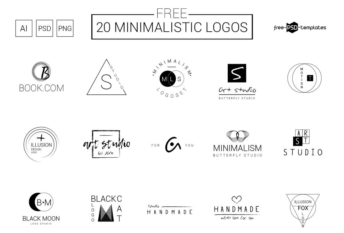 20-Free-Mininmalist-Logo-Templates 40+ Best Photoshop Logo Templates (PSD) design tips