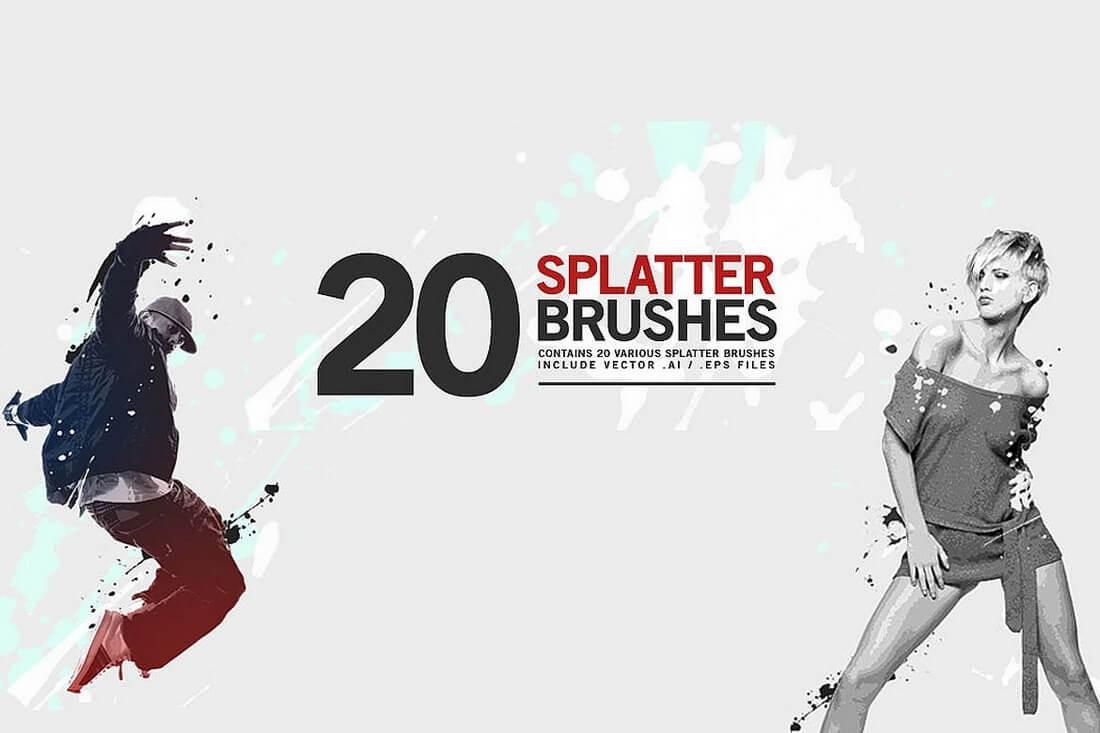 20-Splatter-Brushes 30+ Best High-Quality Photoshop & Illustrator Brushes design tips