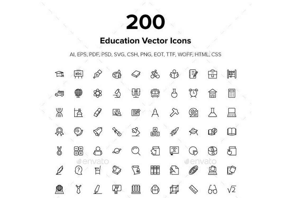 200 Education Icon Font