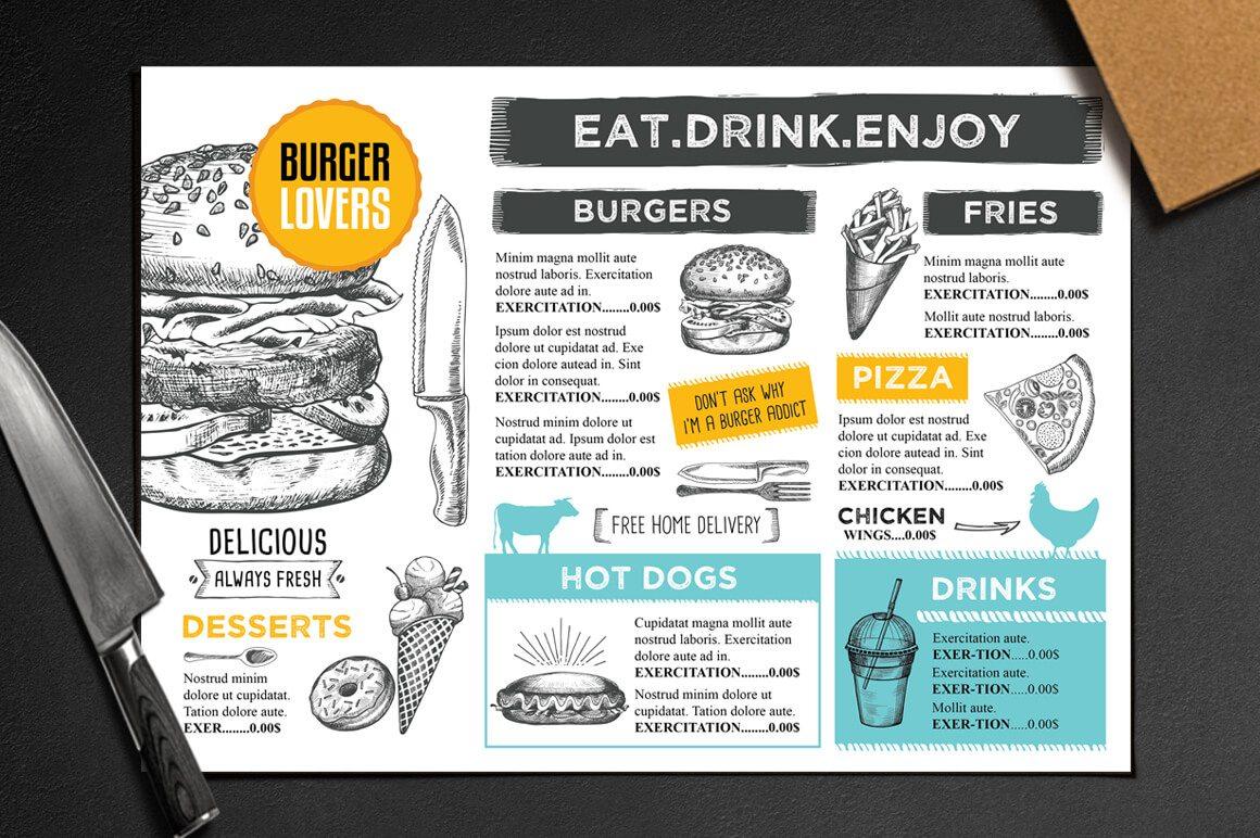21-9 50+ Best Food & Drink Menu Templates design tips
