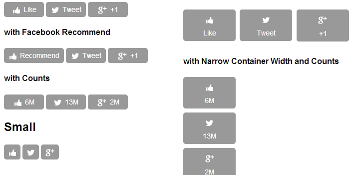 social count widgets buttons jquery plugin