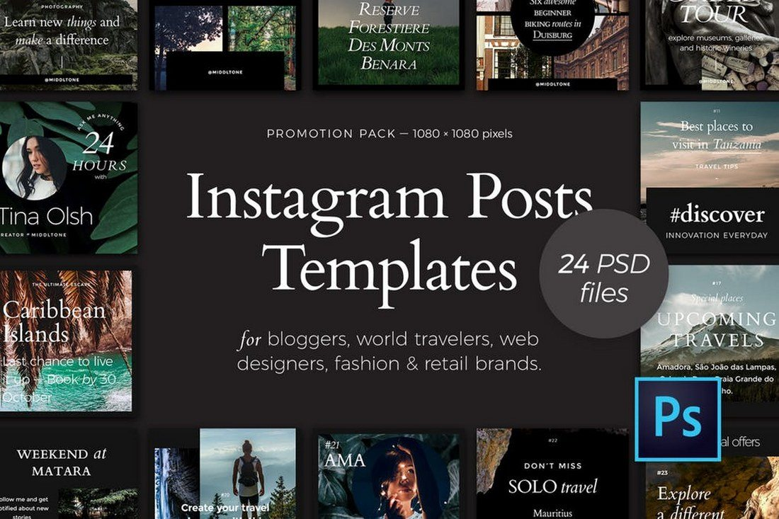 24-Instagram-Posts-Promotion-Pack 30+ Best Instagram Templates & Banners design tips