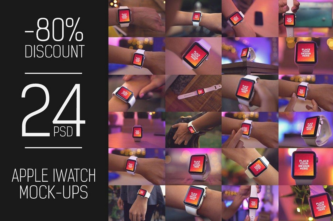 24-PSD-iWatch-Display-Mockups 50+ Apple Watch Mockups & Graphics design tips