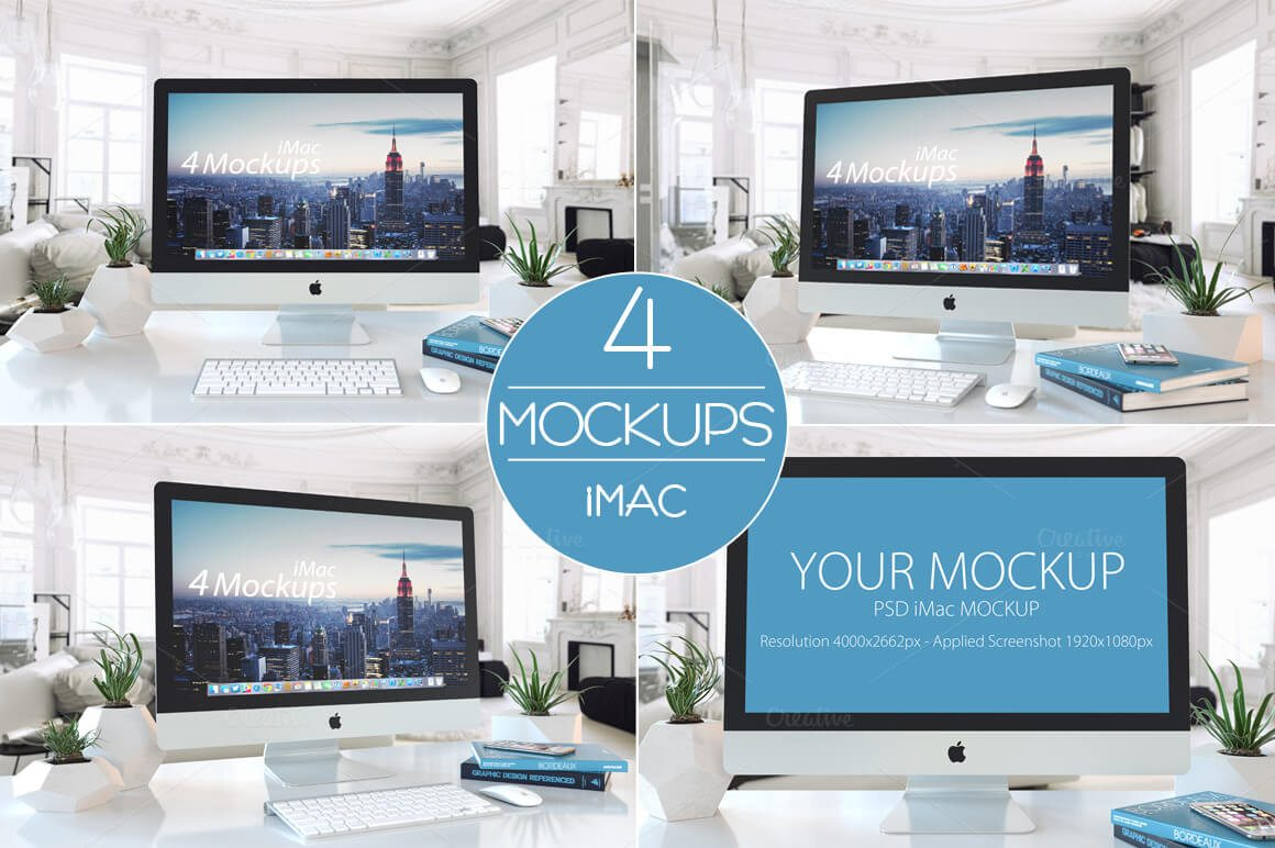 This Is A Set Of Four Realistic IMac Mockups With Different Perspectives All PSD Files Come Editable Layers To Easily Add In Your Designs