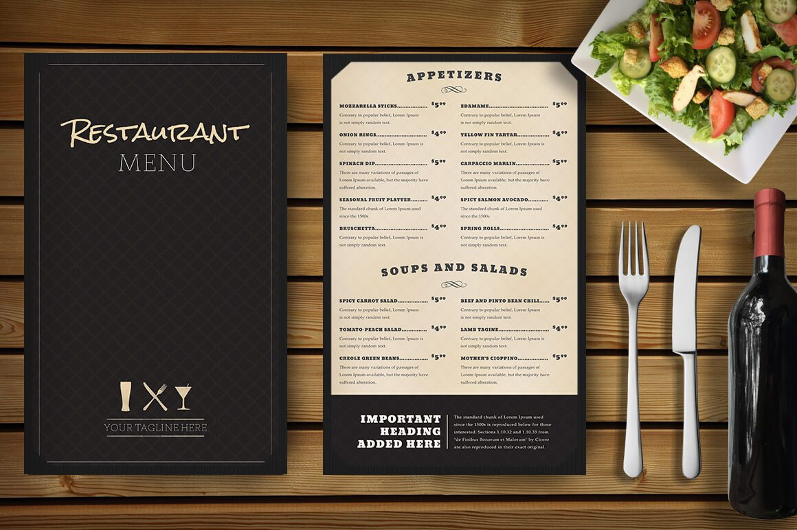 menus designs for restaurants