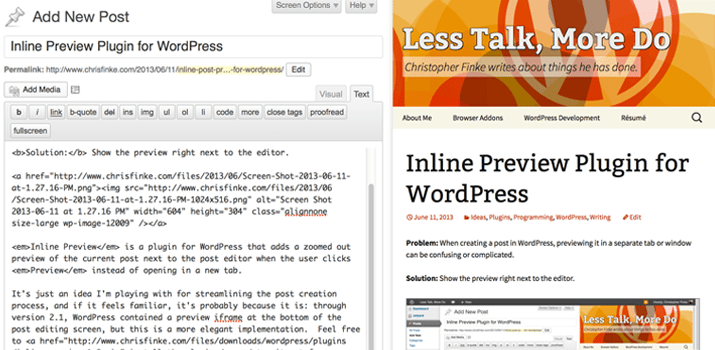 inline preview plugin wordpress testing content