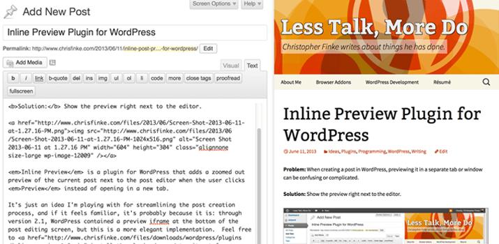 inline preview plugin wordpress testing content