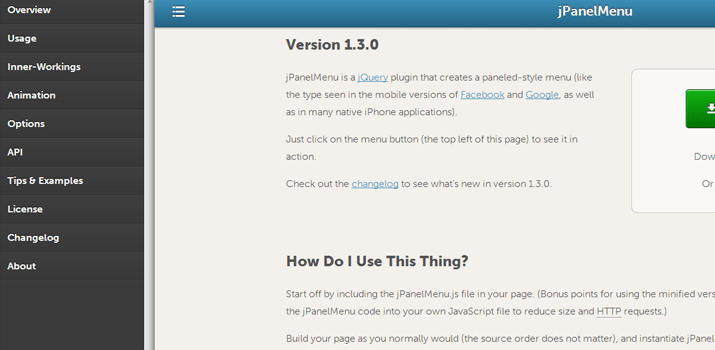 jquery jpanelmenu open source plugin navigation