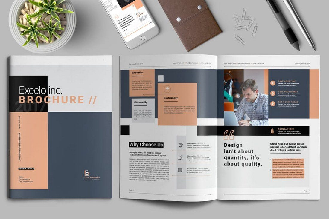 70 modern corporate brochure templates design shack for Creative brochure template