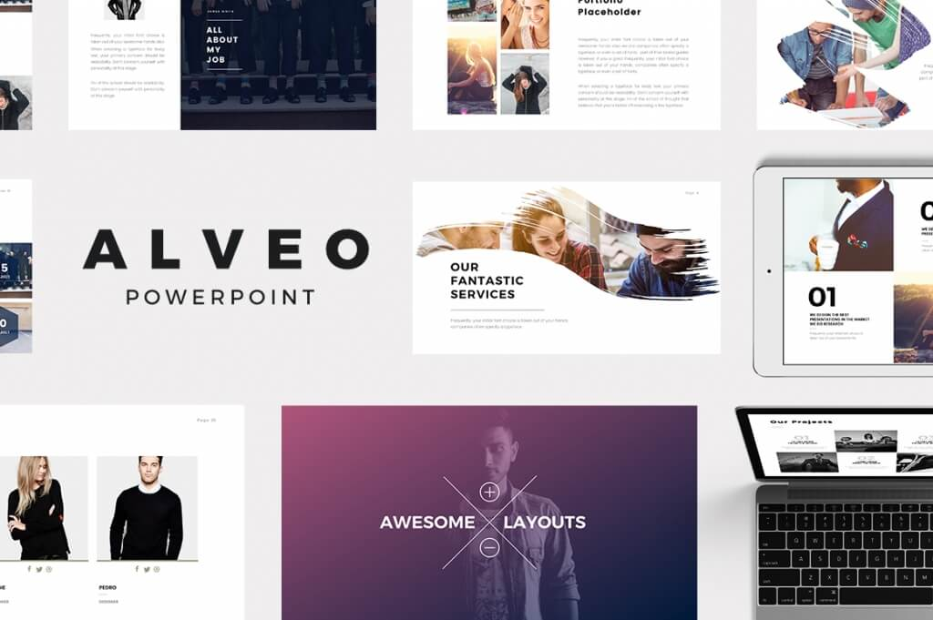 alveo is a modern and creative minimal powerpoint template suitable for personal portfolio creative agency designer portfolio illustrator portfolio