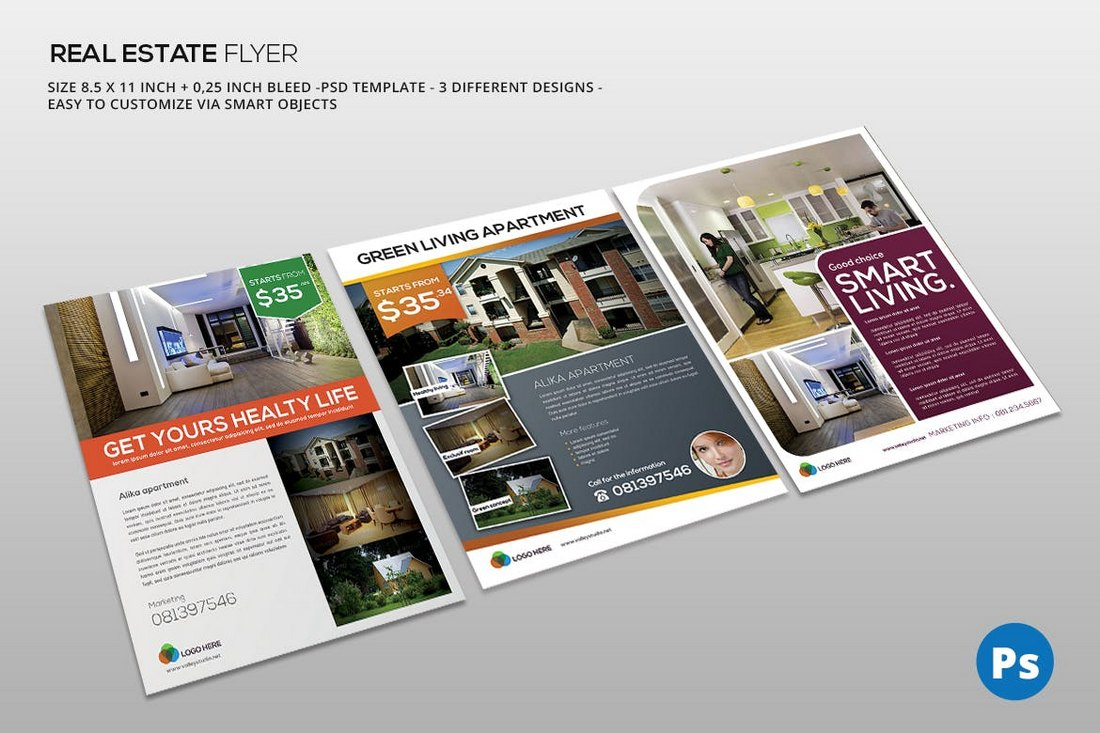 3 Color Real Estate Flyer Templates