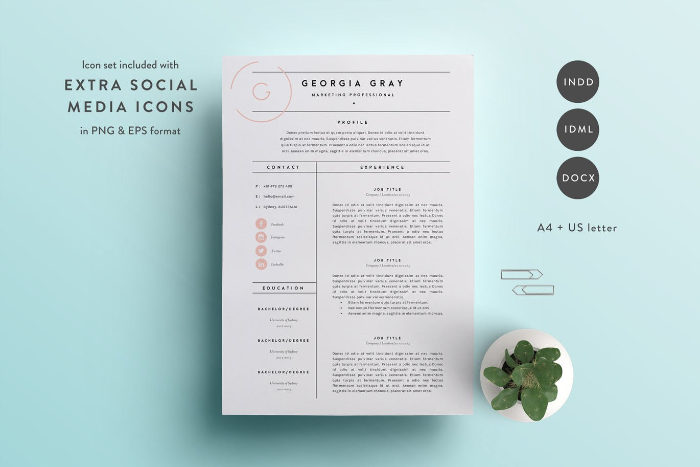 This Resume Template Is Available In Both A4 And US Letter Sizes. It  Includes A 2 Page Resume Template And A Cover Letter Template.