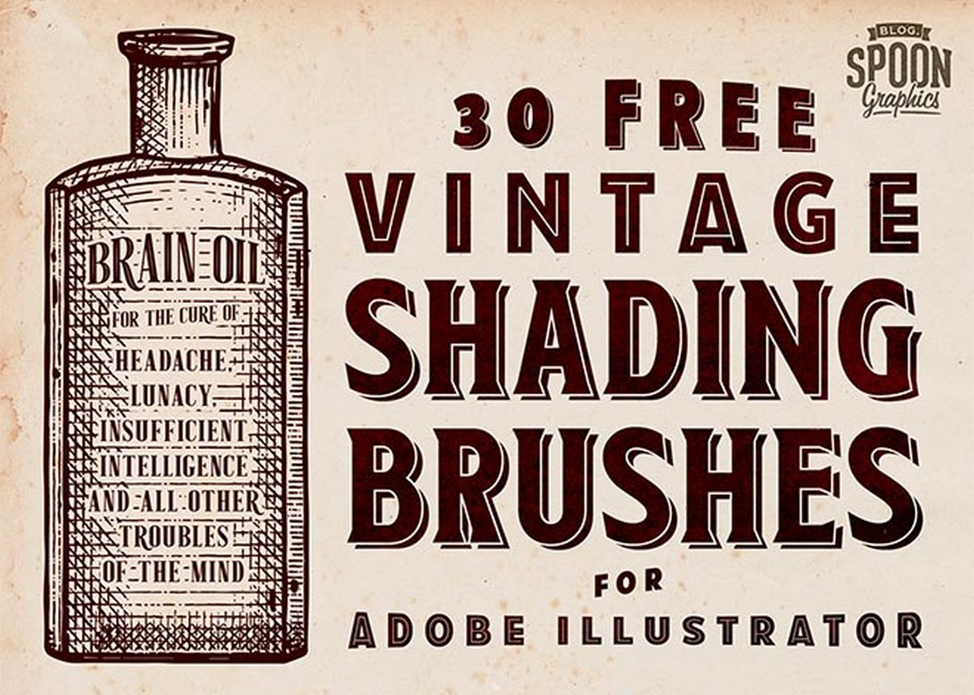 30 Free Vintage Shading Brushes for Illustrator