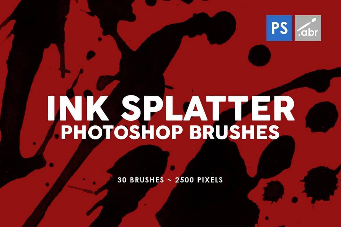 30 Ink Splatter Photoshop Stamp Brushes