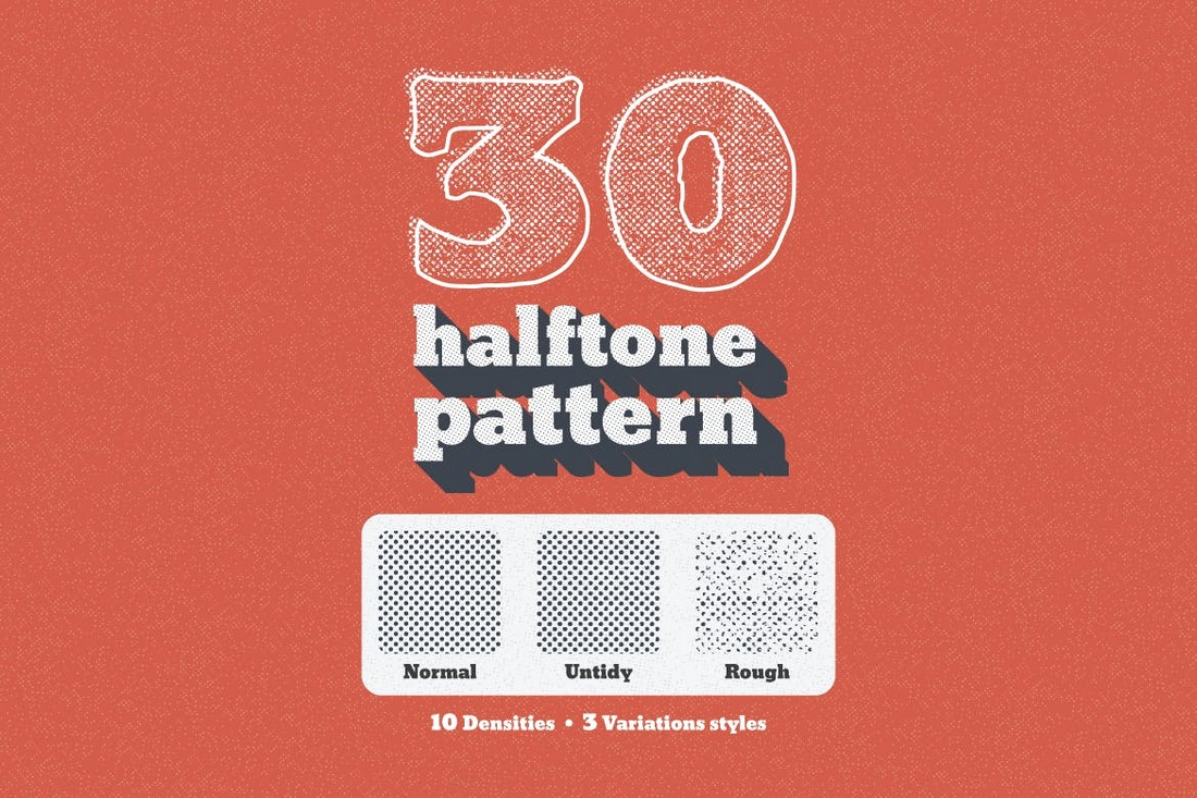 30 Seamless Vintage Halftone Patterns