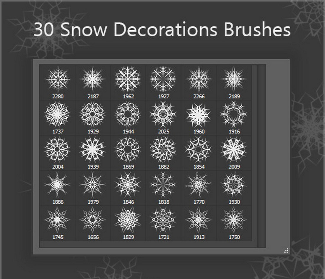 30-Snow-Decorations-Brushes 15+ Christmas Photoshop Brushes, Actions & Text Effects design tips