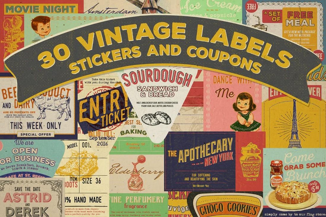 30 Vintage Badges, Labels & Stickers