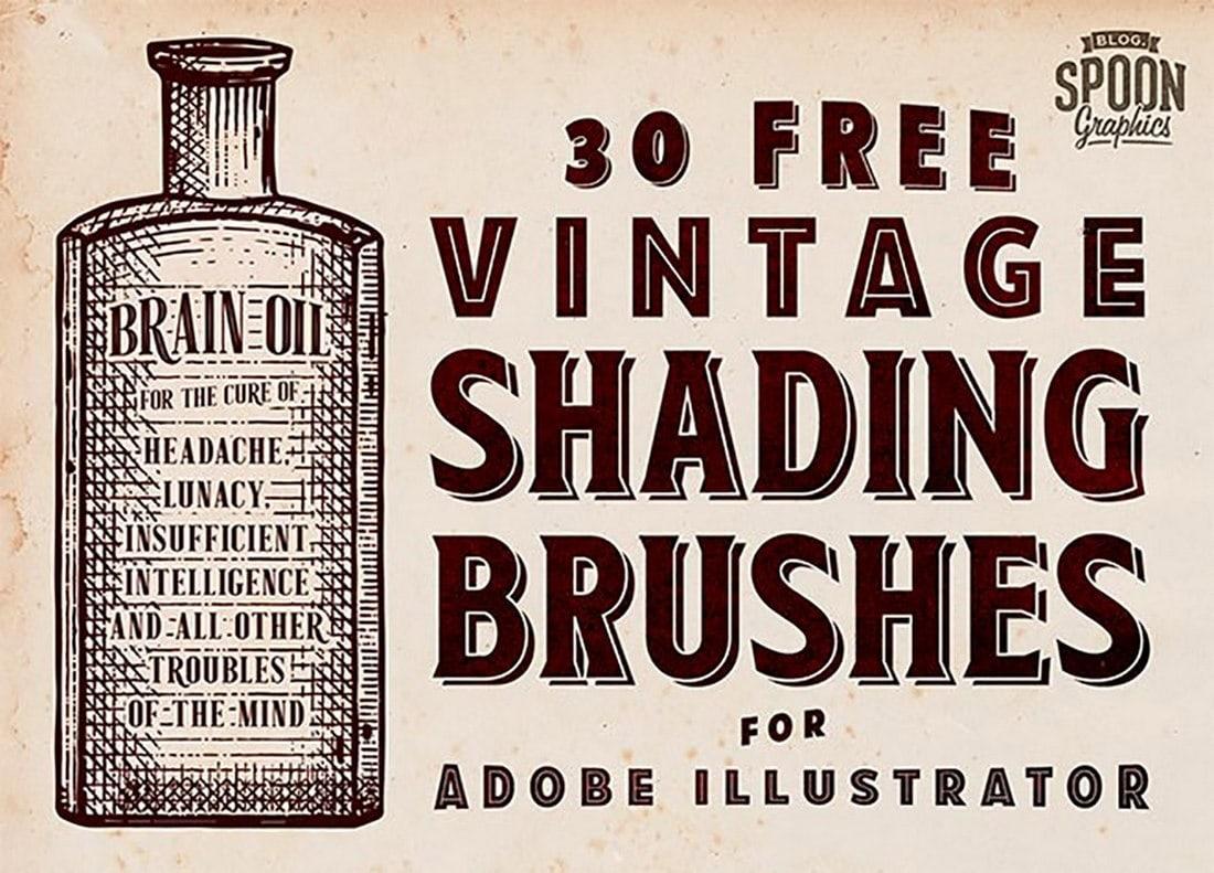 30 Vintage Shading Brushes for Illustrator