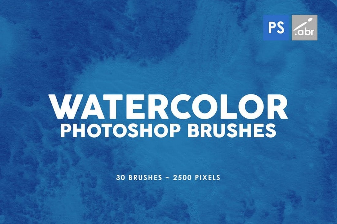 30 Watercolor Texture Photoshop Brushes