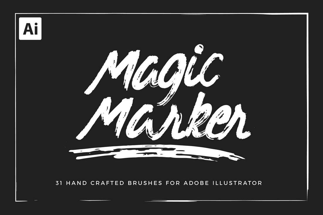 31-Free-Hand-Crafted-Grunge-Marker-Brushes 25+ Best Free Adobe Illustrator Brushes 2021 design tips