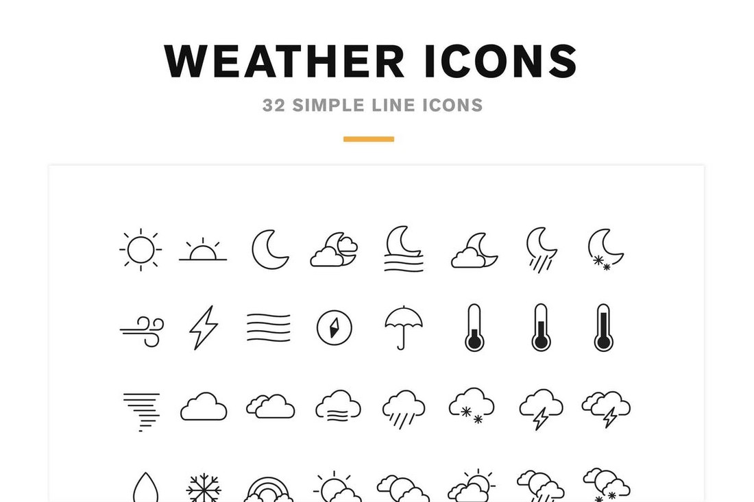 32 Weather Icons and Font
