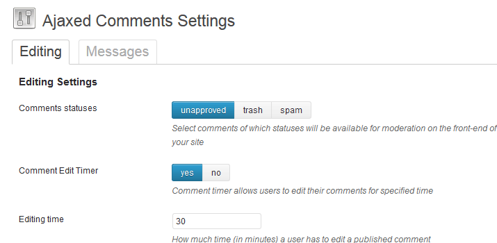 ajax inline editing comments wordress plugin