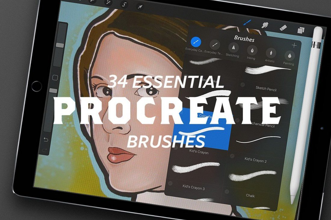 34-Essential-Procreate-Brushes 30+ Best Procreate Brushes design tips