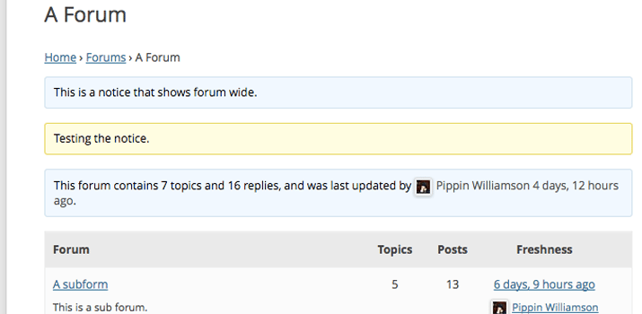 bbpress wordpress plugin forum notices