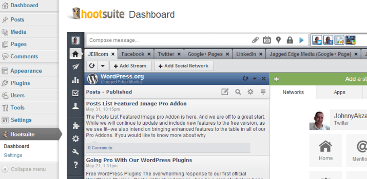 wordpress hootsuite dashboard plugin open source wordpress