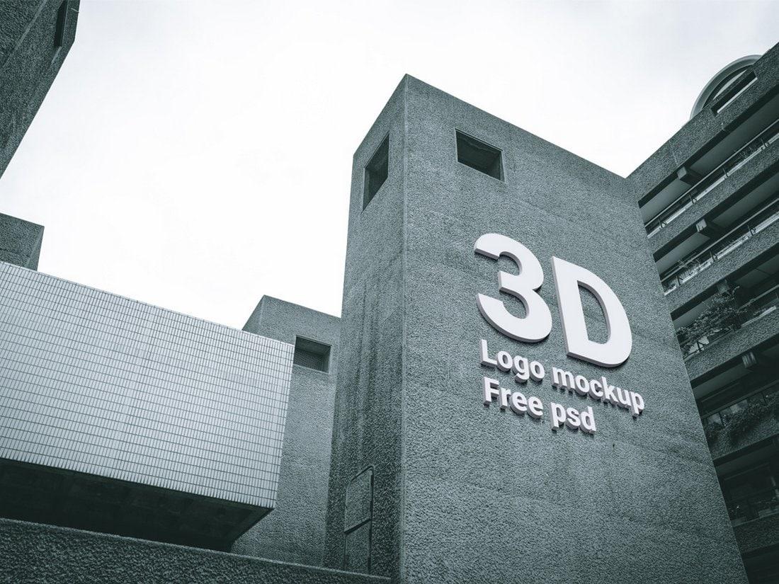 3D Building Logo Sign Mockup