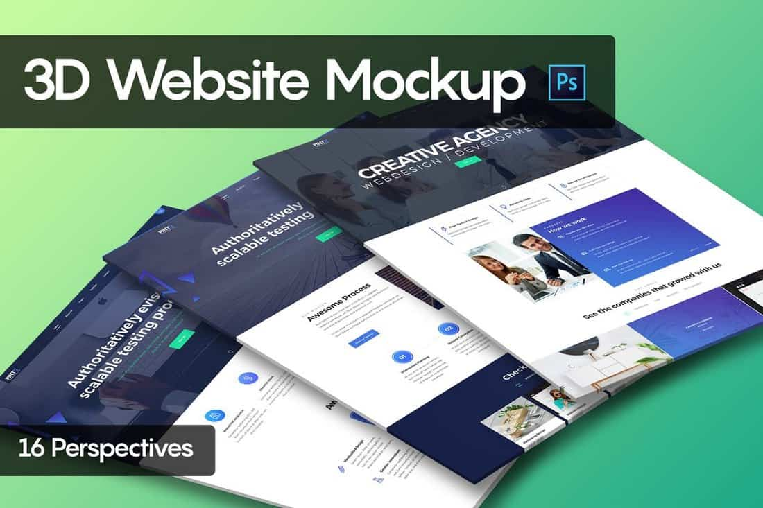 3D Website Mockup Template