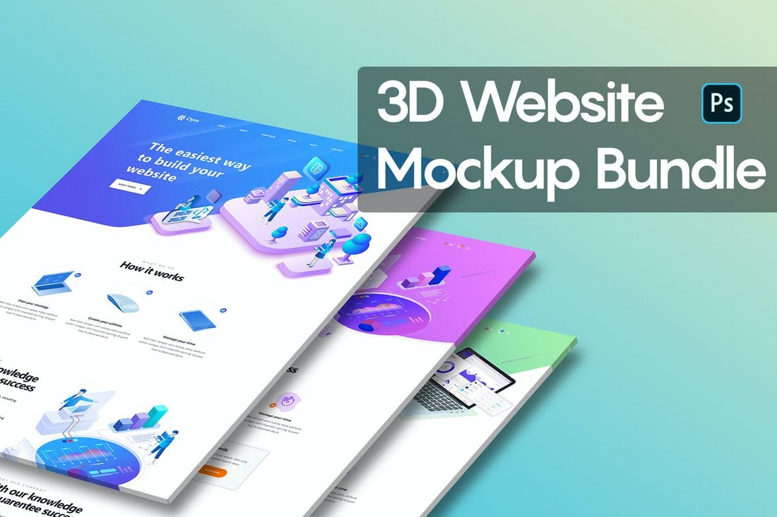 3D-Website-Mockup-Templates-Bundle 40+ Best Website PSD Mockups & Tools 2020 design tips