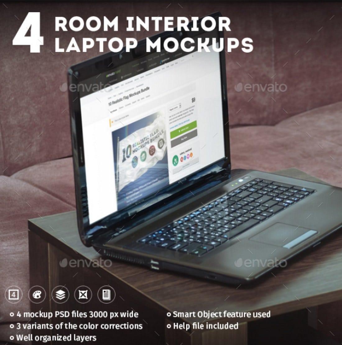 4 Interior Laptop mockups